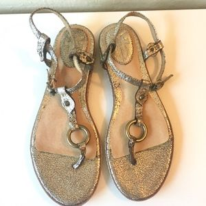 FRYE Gold Sandals Mary Harness Thong 6.5 NEW